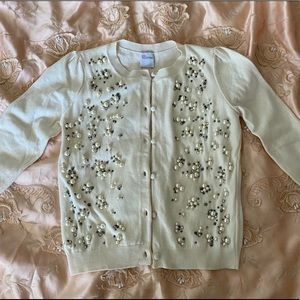 RED Valentino Ivory Pearl Embellished Cardigan